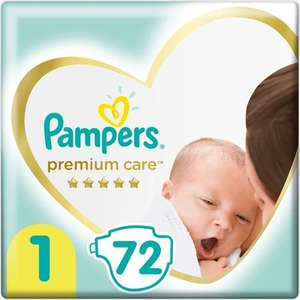 Подгузники Pampers Premium Care, Размер 1, 2-5кг, 72 шт.