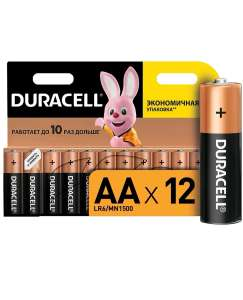 Батарейки Duracell АА/LR6, 12 шт (щелочные)