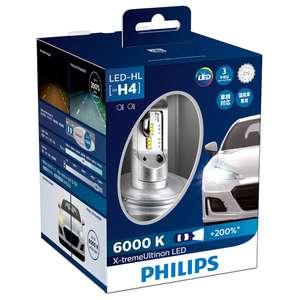 Светодиодная лампа PHILIPS X-treme Ultinon LED H4 6000K 12953BWX2 (уп.2 шт.) на Tmall