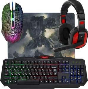 Комплект игровой Defender Target MKP-350 клавиатура+мышь+наушники+коврик