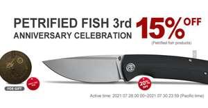 Скидка 15% на ВСЕ складные ножи Petrified fish в Честь Юбилея Магазина