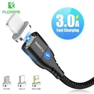 Магнитные кабели 1м 3А (lightning, type-c, microUSB) за 3.16$