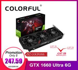 Видео карта GeForce GTX 1660 Ultra 6G за $249.59