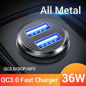 АЗУ с 2 USB и быстрой зарядкой QC3.0 (36Вт) за 1.89$