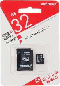 SmartBuy microSDHC Сlass 10 32GB карта памяти (с адаптером SD)