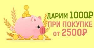 Скидка на 1000 рублей при покупке от 2500 рублей