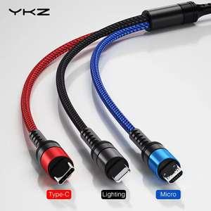 Трехголовые кабели YKZ с купоном от 1.49$