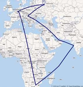 Трип в сентябре из Москвы. Венгрия, ОАЭ, Индия, Сейшелы, ЮАР, Германия в одной поездке за 53000 руб.