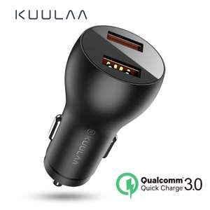 Быстрая автомобильная зарядка KUULAA 36 Вт (выходы USB + USB / USB + Type-C)