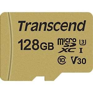 Карта памяти micro SDXC 128Gb Transcend 500S UHS-I U3 V30 (95/60 MB/s)