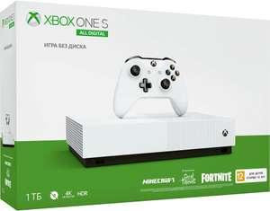 Игровая консоль MICROSOFT Xbox One S с 1 ТБ памяти, играми: Minecraft, Sea of Thieves, Fortnite, All-Digital Edition, белый
