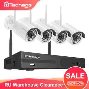 4CH WIFi комплект системы видеонаблюдения Techage H.265, WiFi. 4 камеры FullHD и регистратор