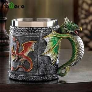 Кружка из нержавеющей стали с 3D рисунком Дракона 350мл