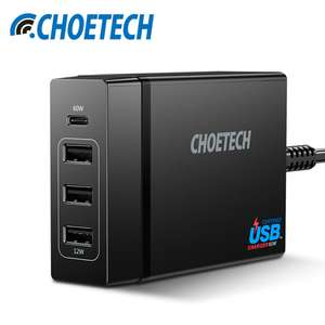 Зарядное устройство Choetech с 3 портами USB QC2.0 и одним портом USB TYPE-C c купоном за 32.04$