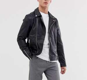Черная кожаная байкерская куртка для мужчин Barney's Originals (размеры от XS до XL)