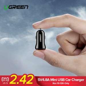Автомобильное зарядное устройство Ugreen USB 4.8A за $2.50