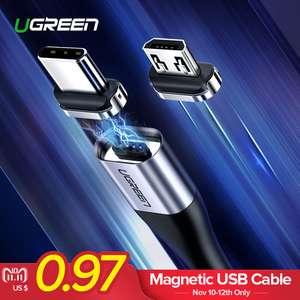 Отличный трехамперный магнитный кабель UGREEN с Type-C и MicroUSB за $2.99