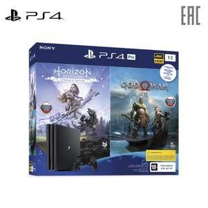 Sony PlayStation 4 PRo (1TB, CUH-7208B) + 2 игры («Horizon Dawn», «GOW»)