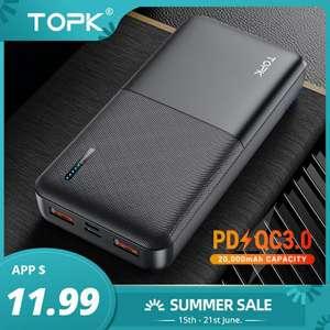 Портативное зарядное устройство TOPK 20000 мАч, usb type C PD 3,0